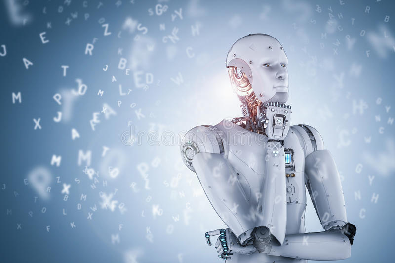 Robot learning or machine learning stock illustration
