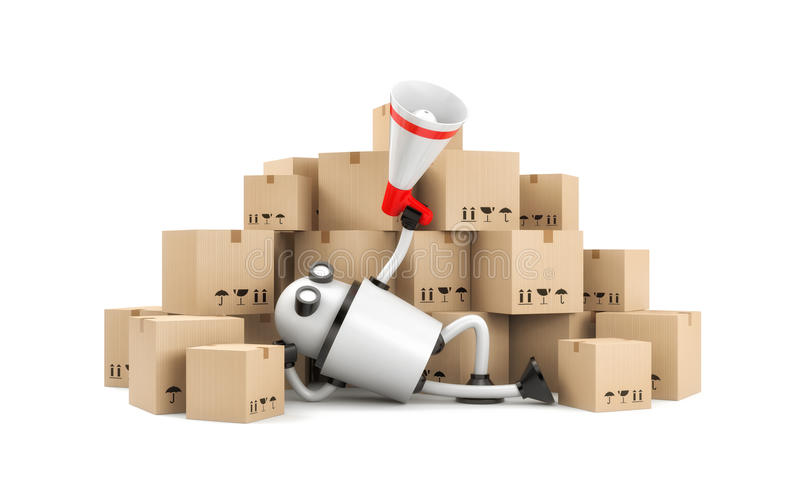 Robot lies among the boxes and speaks into a megaphone stock illustration
