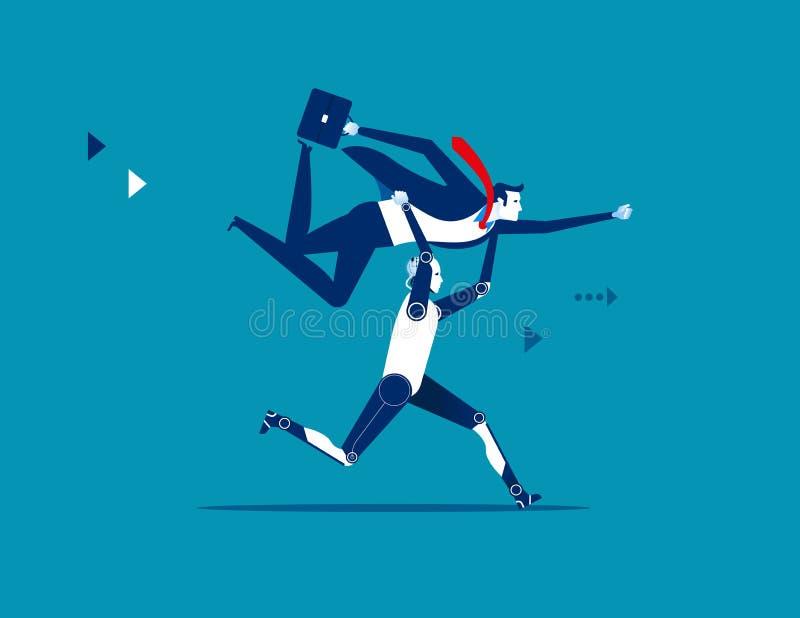 Robot lifting businessman. Concept business vector illustration stock illustration