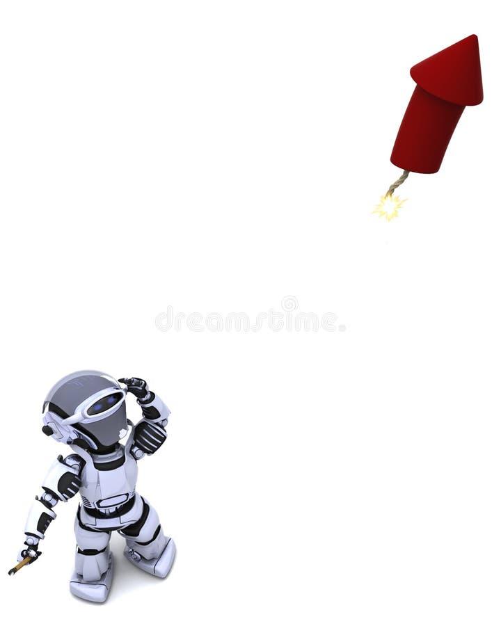 Robot lighting a firework stock illustration
