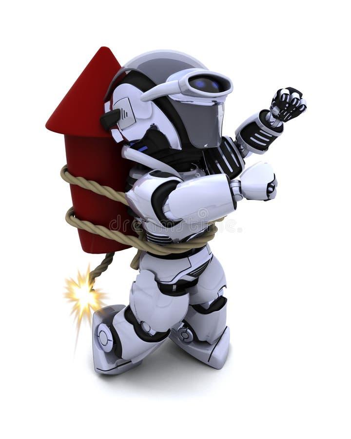 Robot lighting a firework vector illustration