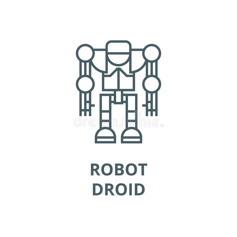 Robot, ligne icône, concept linéaire, signe d'ensemble, symbole de vecteur de droid illustration libre de droits