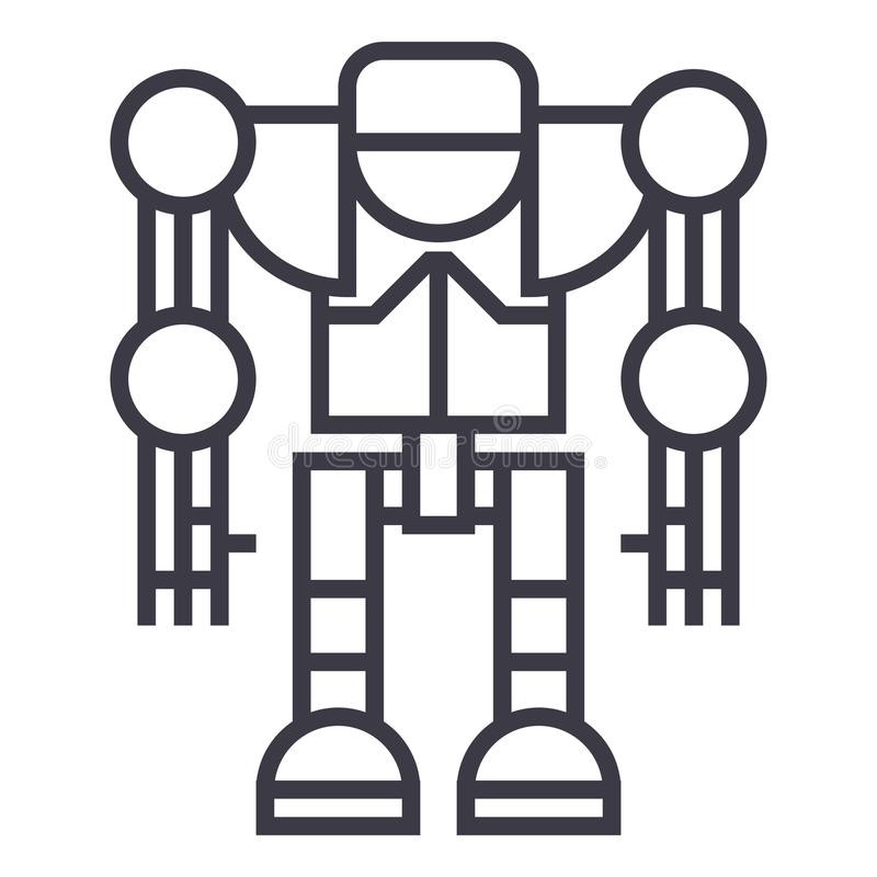 Robot, ligne icône, signe, illustration de vecteur de droid sur le fond, courses editable illustration de vecteur