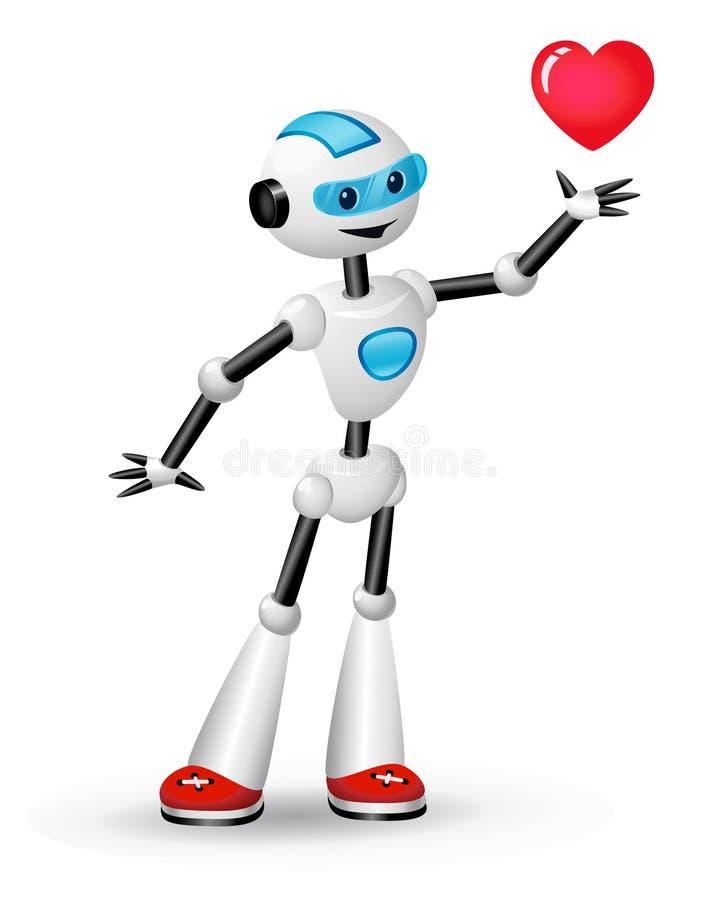 Robot lindo con el corazón en el fondo blanco libre illustration