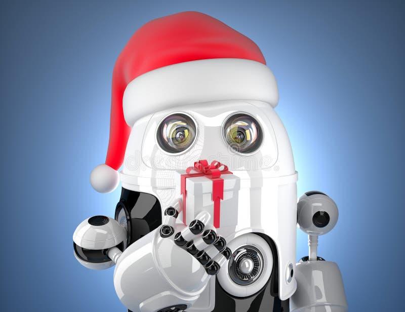 Robot lindo con el sombrero de santa que sostiene la caja de regalo Concepto de la tecnología stock de ilustración