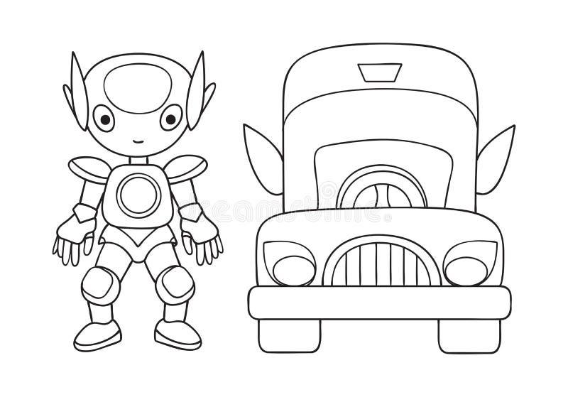 Robot Lindo Dibujado Mano Con El Coche Para El Elemento Del Diseño Y ...