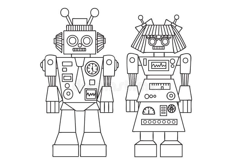 Robot lindo dibujado mano para el elemento del diseño y la página del libro de colorear para los niños y los adultos Ilustración  libre illustration