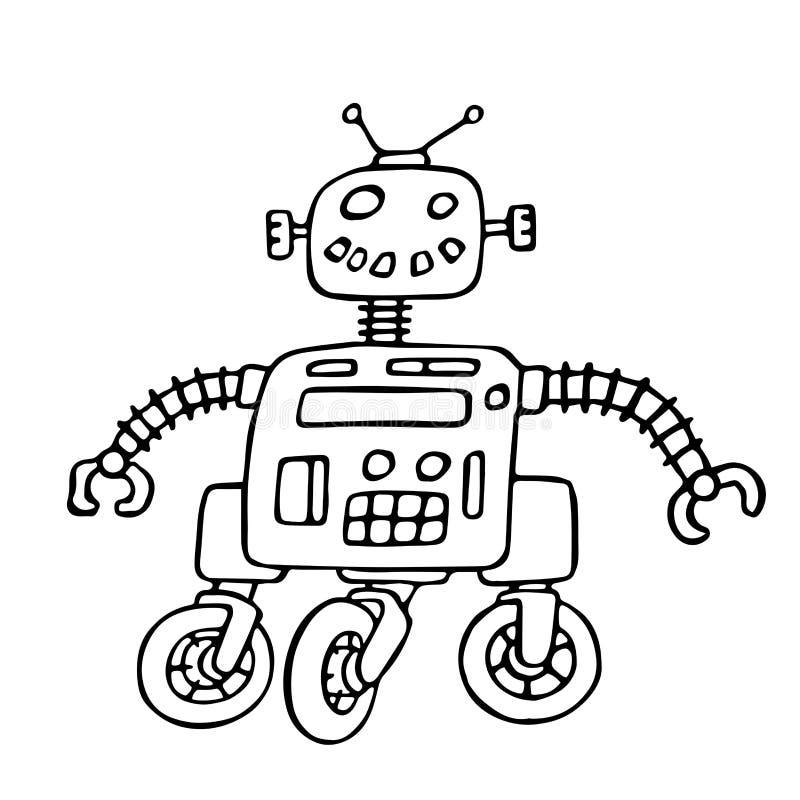 Robot lindo en el ejemplo del vector de las ruedas stock de ilustración