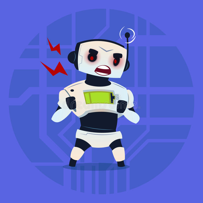Robot lindo enojado teniendo concepto moderno de la tecnología de inteligencia artificial del problema ilustración del vector