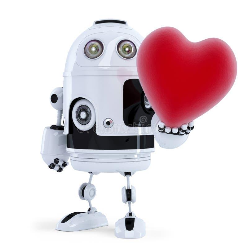 Robot lindo que lleva a cabo un corazón rojo grande. Aislado ilustración del vector