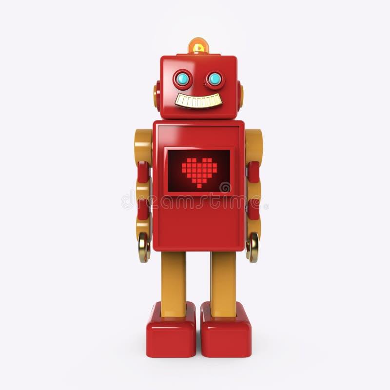 Robot lindo rojo del vintage con el icono ligero brillante del corazón del pixel del bub y de la pantalla ilustración del vector