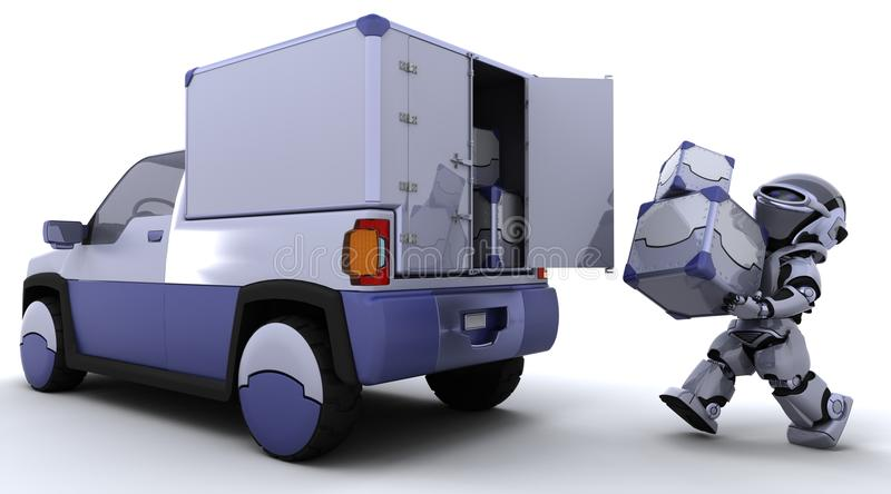 Robot loading boxes into the back of a truck stock illustration