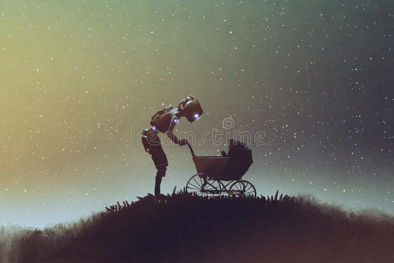 Robot looking at baby in a stroller against starry sky. Young robot looking at baby in a stroller against starry sky, digital art style, illustration painting vector illustration