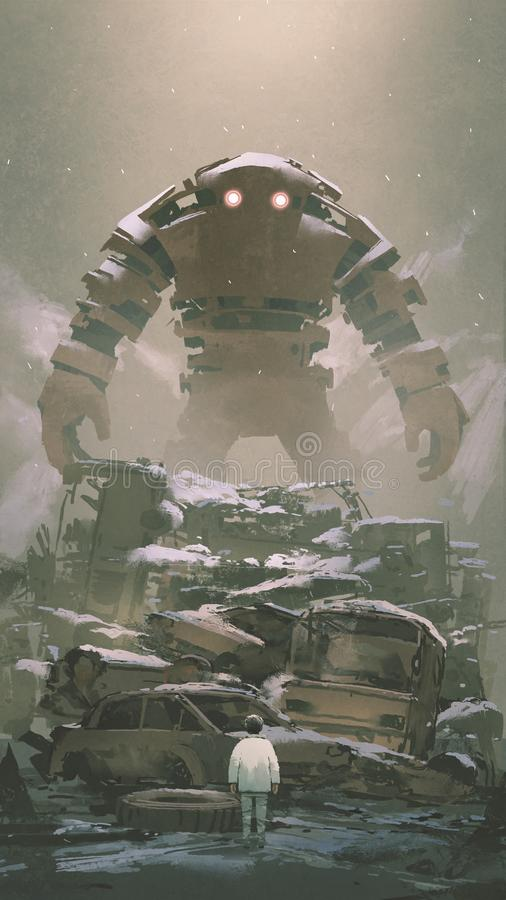 Robot looking at the boy below. Giant robot behind pile of wreck cars looking at the boy below, digital art style, illustration painting vector illustration