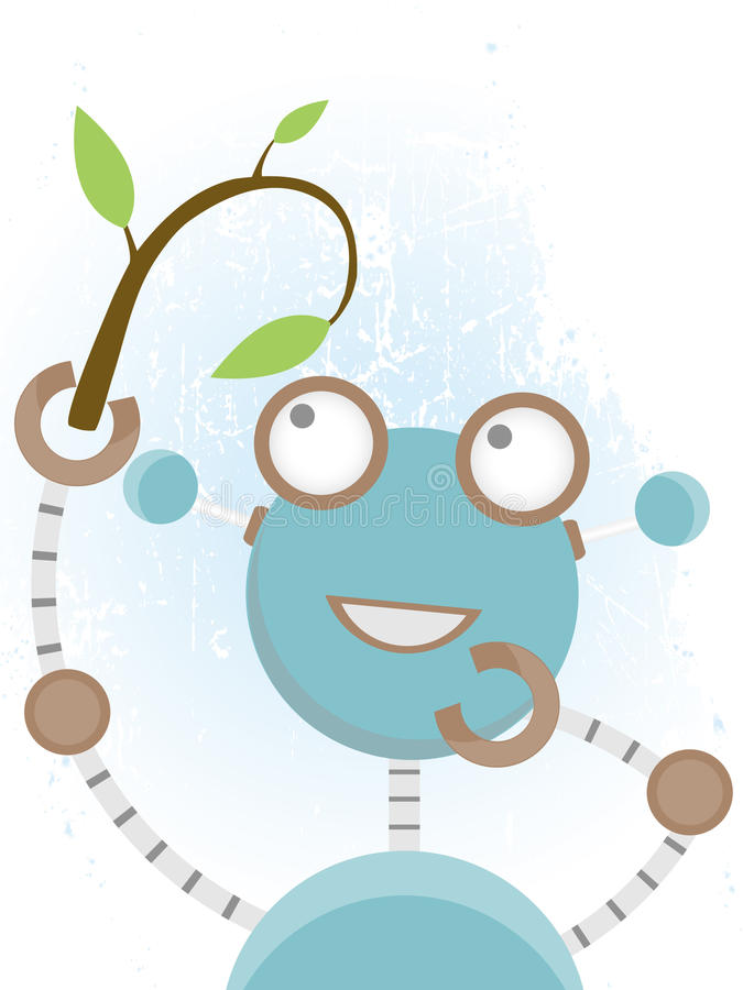 Robot Looking At Plant Royalty Free Stock Images