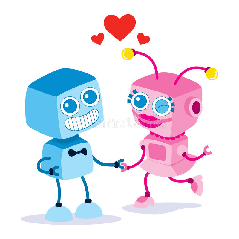 Robot Love Couple stock illustration
