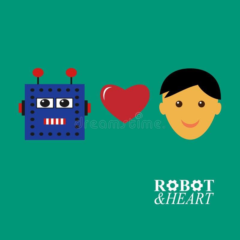 Robot loves human stock illustration