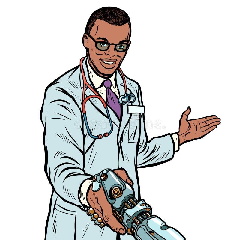 Robot, médecine et soins de santé africains de poignée de main de docteur Prosth illustration libre de droits