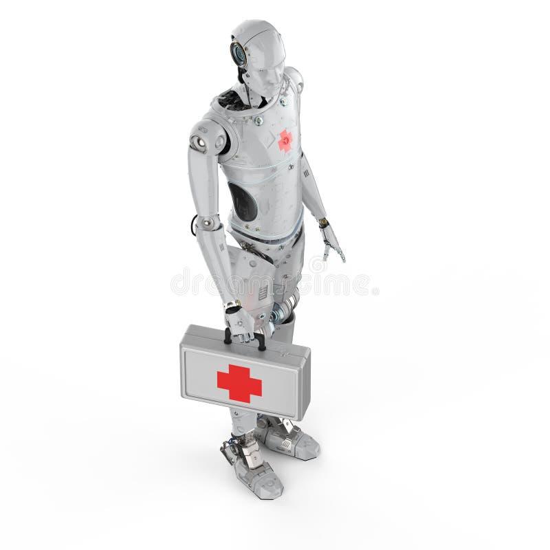 Robot médico con la muestra de la Cruz Roja stock de ilustración