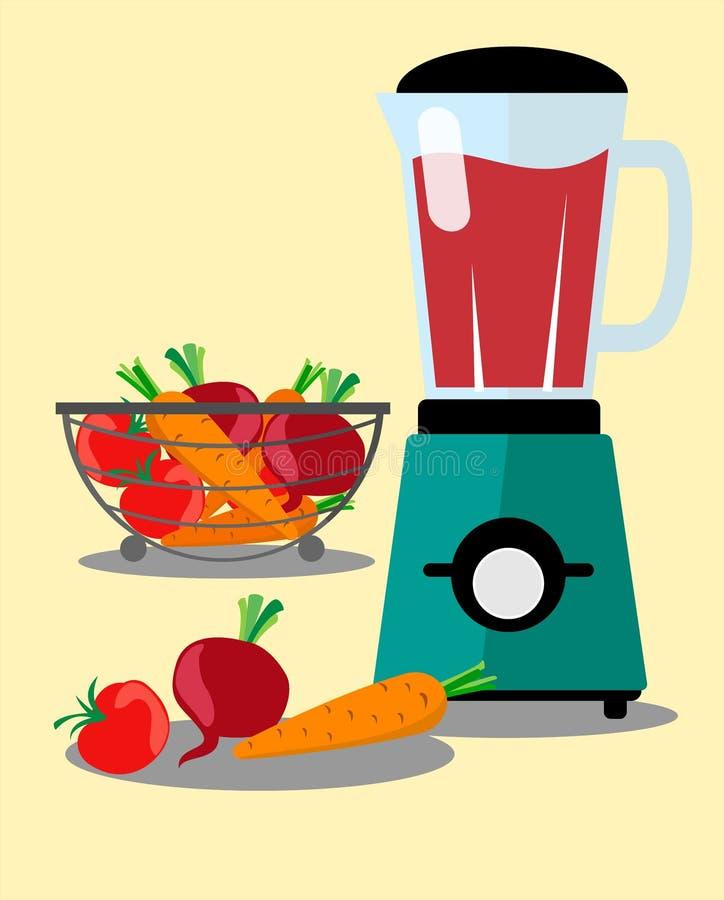 Robot ménager, mélangeur, mélangeur et légumes Carottes, betteraves, tomates Vecteur dans le style d'appartement illustration stock