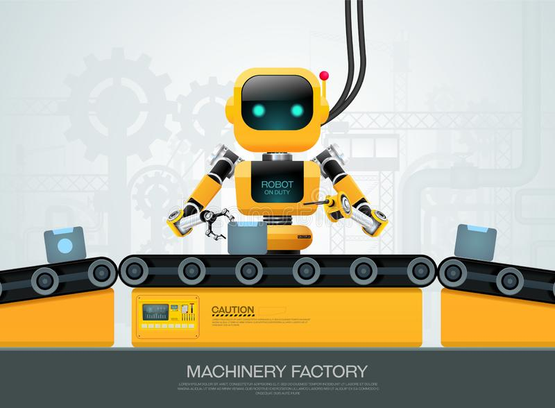 Robot machine artificial intelligence technology smart industrial 4.0 control stock illustration