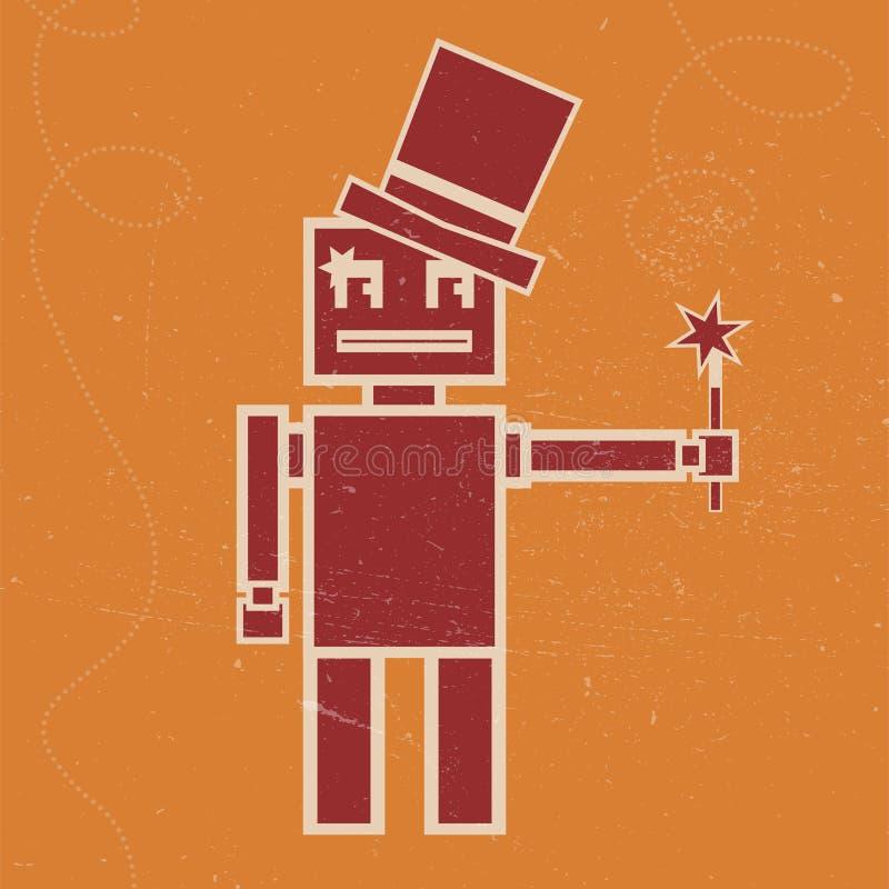 Robot magician vector illustration royalty free illustration