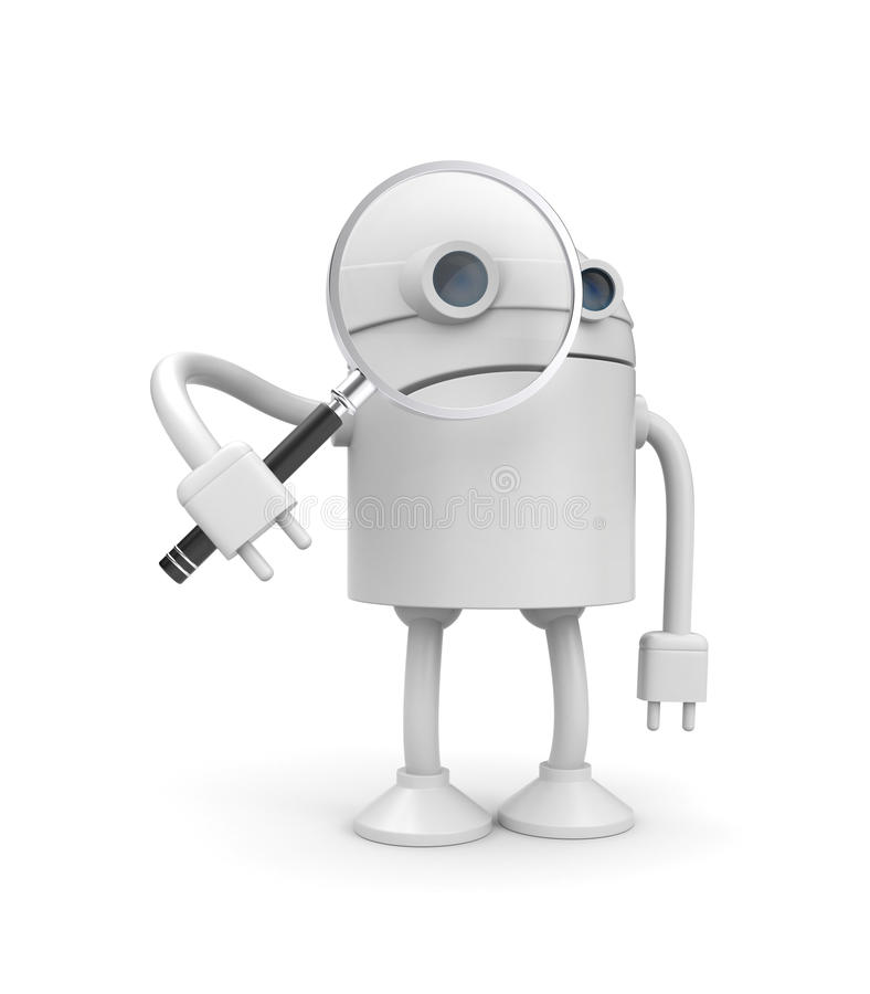 Robot with magnify glass stock illustration