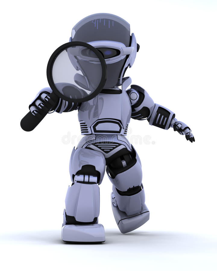 Robot with magnifying glass stock illustration
