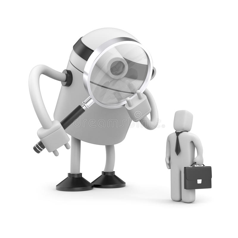 Robot with magnifying glass analyzing businessman royalty free illustration