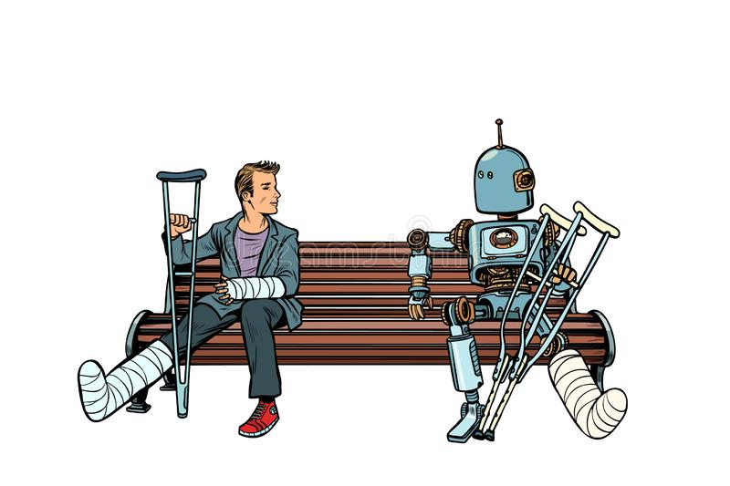 A robot and a man with broken legs with crutches and in a cast stock illustration