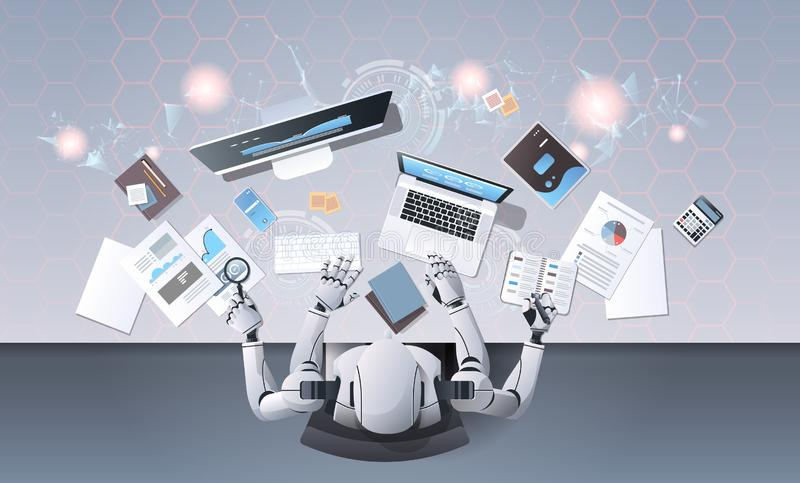 Robot with many hands using digital devices at workplace desk office stuff working process top angle view artificial vector illustration