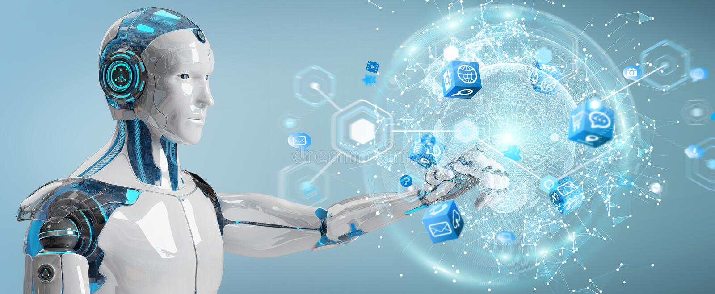 Robot maschio bianco facendo uso della rappresentazione digitale dell'interfaccia 3D dello schermo illustrazione vettoriale