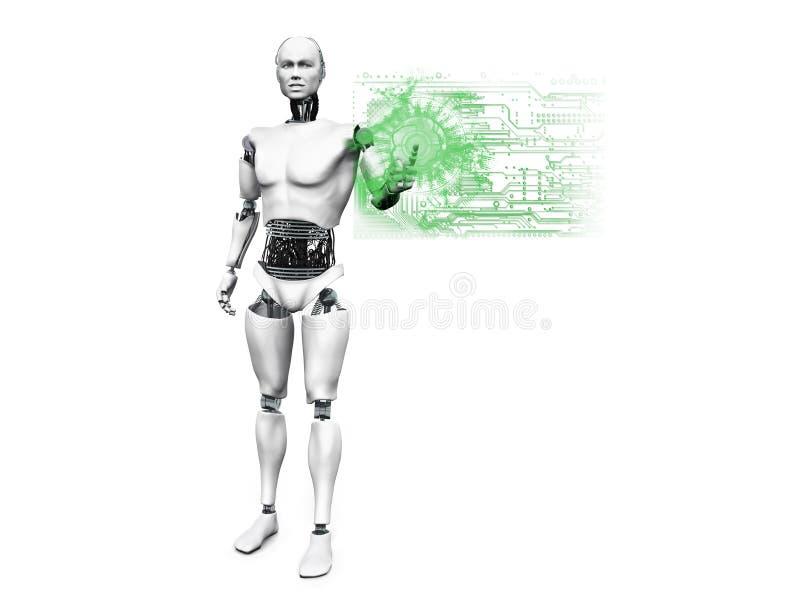 Robot maschio che spinge il bottone di tecnologia. royalty illustrazione gratis