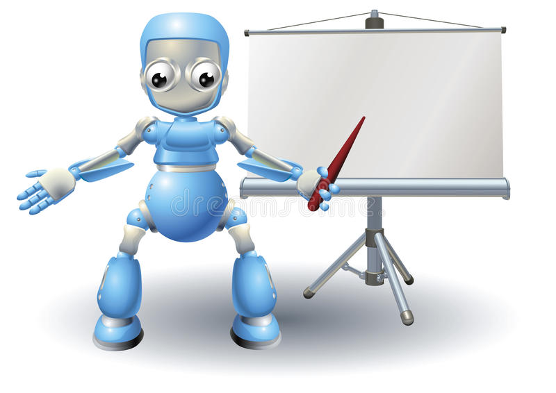 Robot Mascot Character Presenting On Roller Screen Stock Images