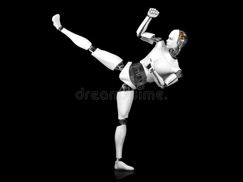 Robot masculin faisant le coup-de-pied de karaté. illustration de vecteur
