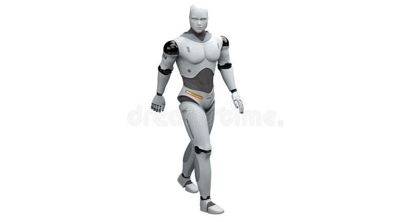 Robot masculin marchant et prenant une balade illustration libre de droits