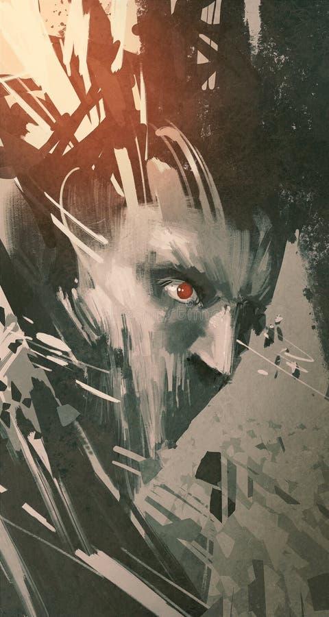 Robot masculino con grunge moderno ilustración del vector