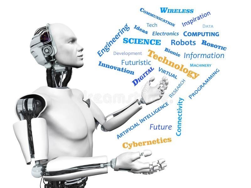 Robot masculino con la nube de la palabra del tema de la tecnología. ilustración del vector