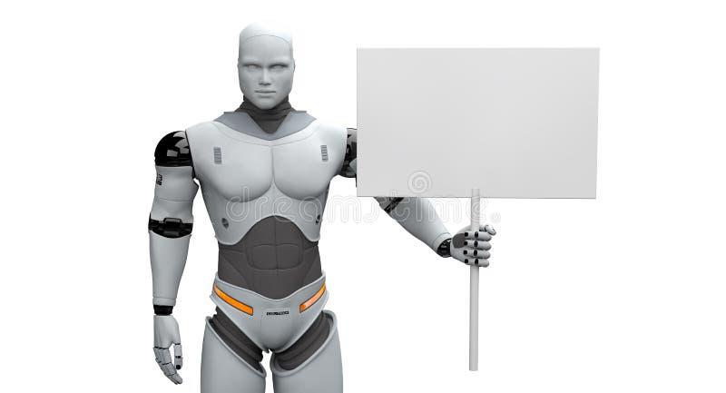 Robot masculino con la pequeña muestra en blanco votada stock de ilustración