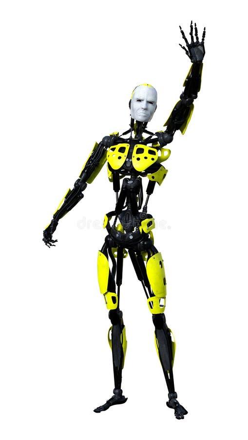 robot masculino de la representación 3D en blanco stock de ilustración