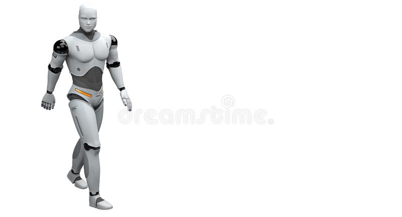 Robot masculino que camina y que toma un paseo libre illustration