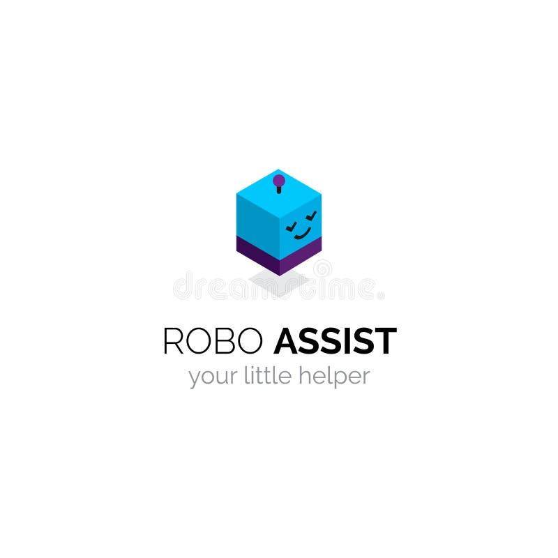 Robot maskotki śmiesznego loga isometric projekt Kreskówki avatar mechaniczna głowa ilustracji