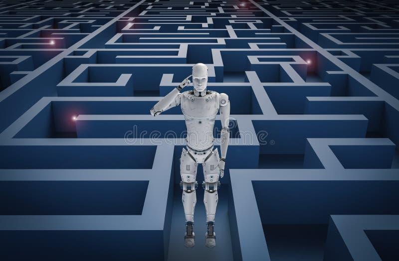 Robot in maze. 3d rendering humanoid robot analysisi in maze stock illustration