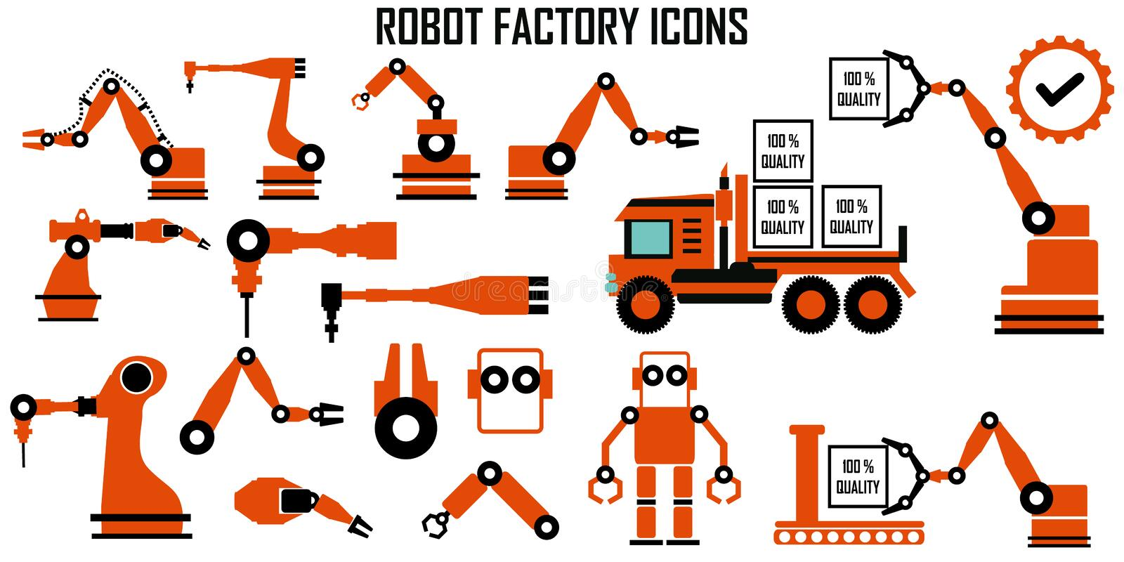 ROBOT MECHANIC FACTORY INDUSTRY MANUFACTURE VECTOR ICONS MONO SYMBOL stock illustration