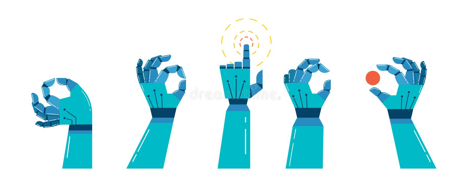 Robot and mechanic hands banner, concept design vector illustration