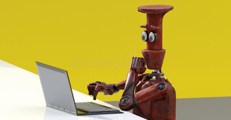 Robot med bärbara datorn 3d att framföra vektor illustrationer