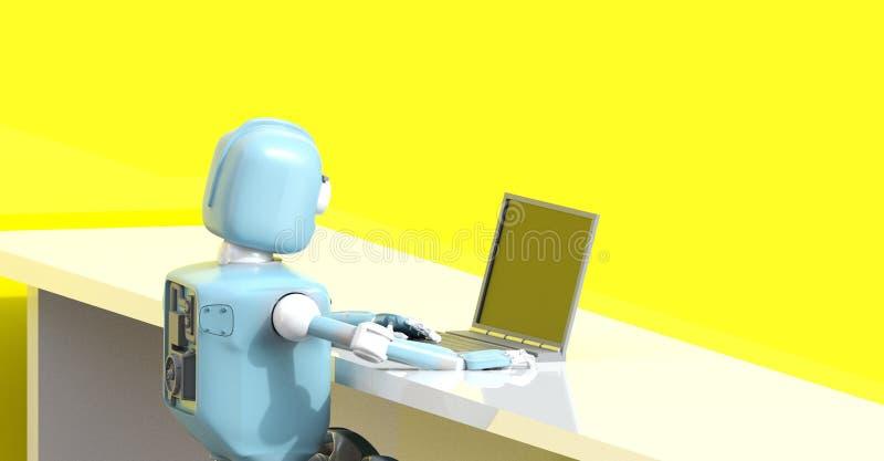 Robot med bärbara datorn 3d att framföra stock illustrationer