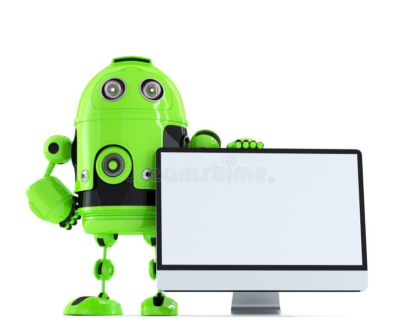 Robot med bildskärmen isolerat Innehåller den snabba banan stock illustrationer