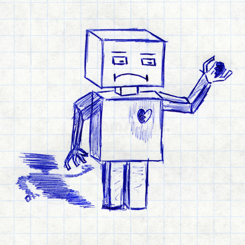 Robot med bruten hjärta Barns teckning i en skolaanteckningsbok royaltyfri illustrationer