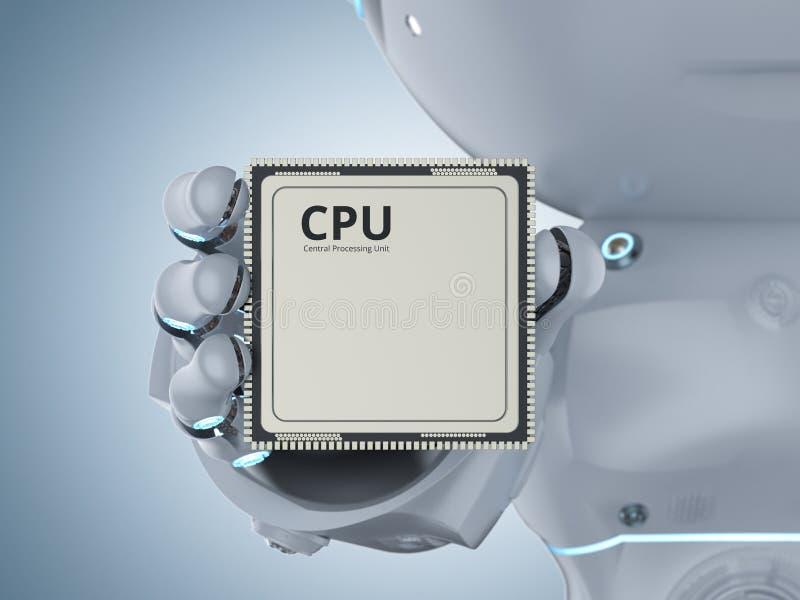 Robot med CPU-chipen vektor illustrationer